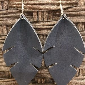 Navy palm leaf leather earrings